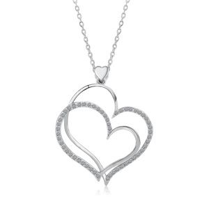 Jewelry - Platinum Plated Entwined Crystal Heart Necklace